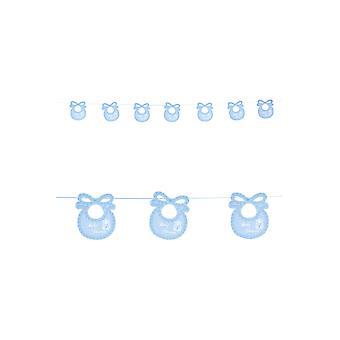 Favores de la fiestas del bebé garland ducha con baberos azul 2,75 m