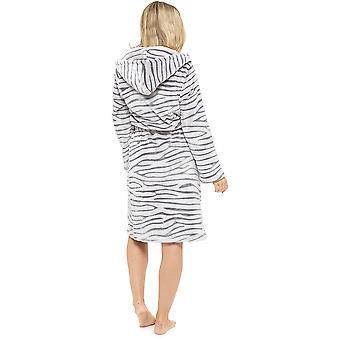 Damer supersoft blødt varm hvid Tiger Fleece hættetrøje Wrap Over Morgenkåbe slåbrok