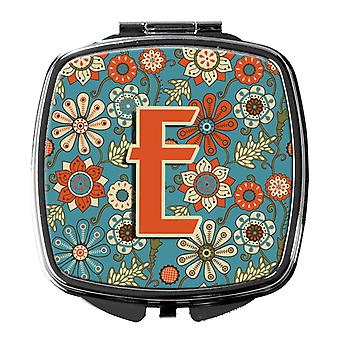 Carolines Treasures  CJ2012-ESCM Letter E Flowers Retro Blue Compact Mirror