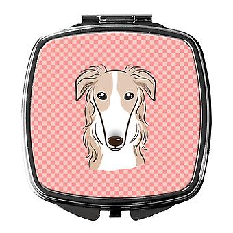 Carolines Treasures  BB1228SCM Checkerboard Pink Borzoi Compact Mirror