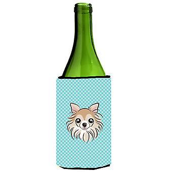 Dambord blauwe Chihuahua wijnfles drank isolator Hugger