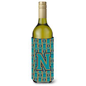 Letter N Football Aqua, Orange and Marine Blue Wine Bottle Beverage Insulator Hu
