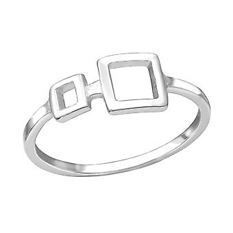 Square - 925 Sterling Silver Plain Rings - W34179X