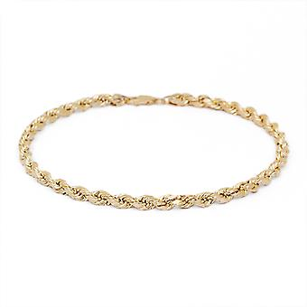 10k Yellow Gold Solid Diamond Cut Rope Chain Bracelet and Anklet, 4mm (0.16