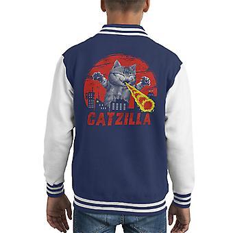 Catzilla Godzilla Parody Kid's Varsity Jacket