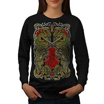 Dragon Gun Rose Gangster Women BlackSweatshirt | Wellcoda