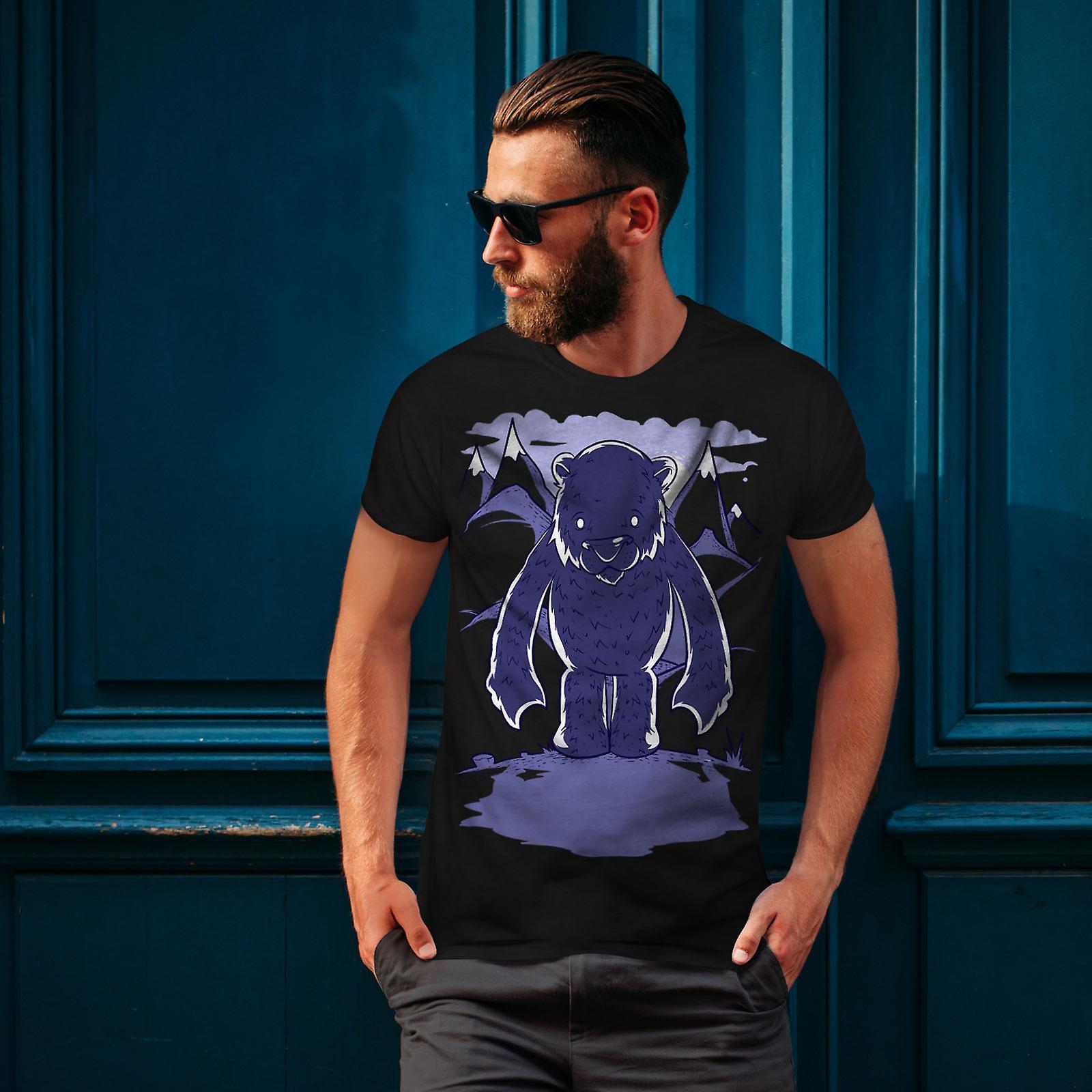 White Bear Cartoon Men BlackT-shirt | Wellcoda