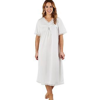 Slenderella ND1116 kvinners Jacquard elfenben natt kjole Loungewear korte ermer Nightdress