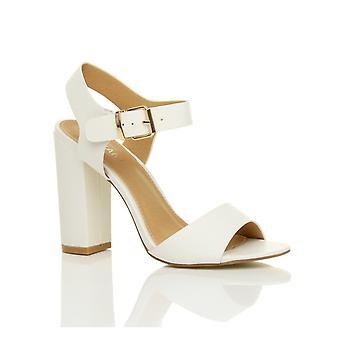 Ajvani womens high block heel ankle strap buckle peep toe shoes sandals