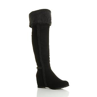 Ajvani womens mid concealed wedge aviator shearling fold over the knee boot