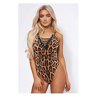 The Fashion Bible Wild One Leopard Print Plunge Bodysuit