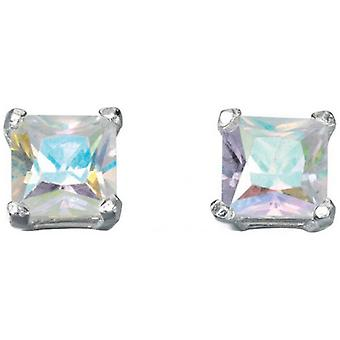 Beginnings Rainbow Cubic Zirconia Square Stud Earrings - Multi Colour