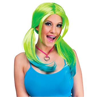 Ombre Pigtail Green Blue 2-Tone Women Costume Wig
