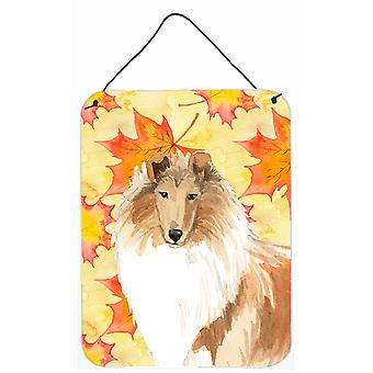 Fall Leaves Rough Collie Wall or Door Hanging Prints