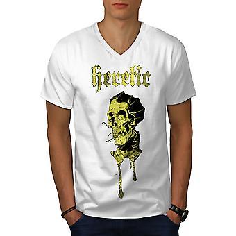 Ketzerische Metal Gothic Männer WhiteV-Neck T-shirt   Wellcoda