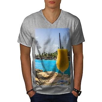 Havet Cocktail foto män GreyV-hals T-shirt | Wellcoda