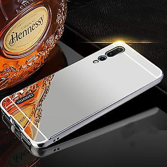 Dla Huawei P20 za lustro / lustro srebrne zderzak 2 szt + 0,3 mm szkło hartowane H9