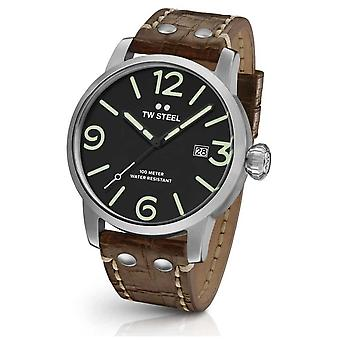 TW Steel Maverick Mens cuir marron bracelet cadran noir MS11 Watch