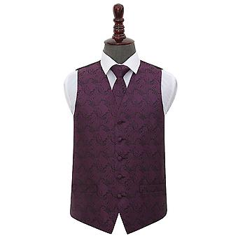 Gilet de mariage Paisley Purple & cravate ensemble