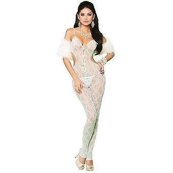 Vivace EM-81227 Lace bodystocking with open crotch and satin bow detail