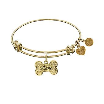 Stipple Finish Brass Bone With Love Angelica Bangle Bracelet, 7.25