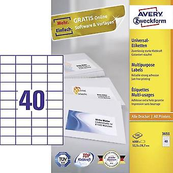 Zweckform Avery etiquetas 3651 52,5 x 29,7 mm papel W