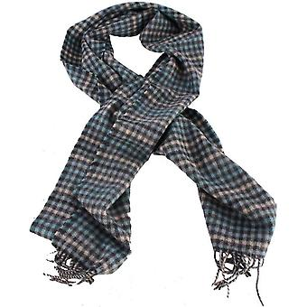 Bassin and Brown Keegan Checked Wool Scarf - Blue/Grey/White