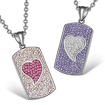 Magic Hearts Austrian Crystal Love Couples or Best Friends Tag Pink Rainbow White Purple Necklaces
