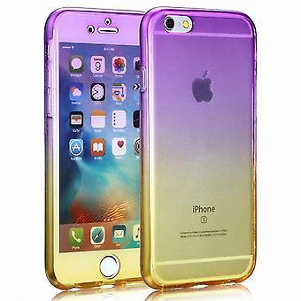 Crystal Case Hülle für Apple iPhone 8 Plus Lila Gelb Rahmen Full Body