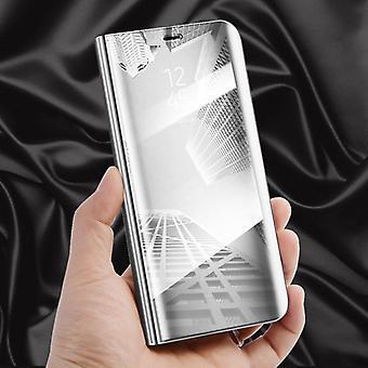 Für Xiaomi Redmi 6 Clear View Spiegel Mirror Smartcover Silber Schutzhülle Cover Etui Tasche Hülle Neu Case Wake UP Funktion