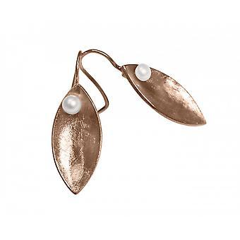 Damen - Ohrringe - Ohrhänger - 925 Silber - Rose Vergoldet - MARQUISE - Perle - Weiß - 3 cm