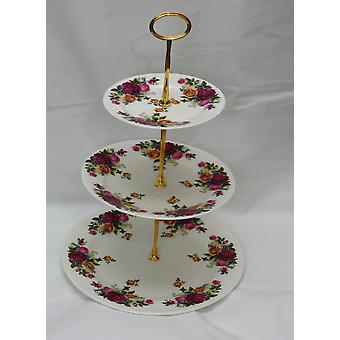 English Bone China 3 Tier Cakestand. Country Garden. Complete