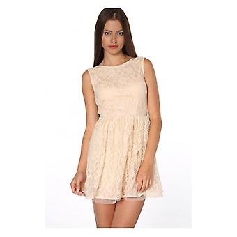 The Fashion Bible Leila Low Back Lace Skater Dress In Cream