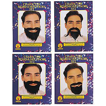 Beard set sorted EH12 four moustache in black accessory