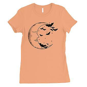 Moon And Bats Womens Peach T-Shirt