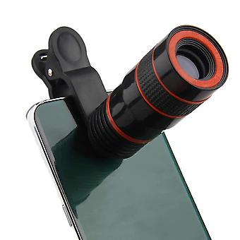 ONX3 (Black 8X Zoom) Universal Optical Magnifier Telescope Phone Camera Lens Kit, Manual Focus For Also Fit For  Samsung Galaxy S9