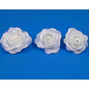 SALE - 3 Large 70mm White Fabric Rose Clips with Diamante Centre