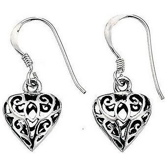 Débuts en filigrane coeur boucles d'oreilles - argent/noir