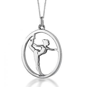 SÆT ' gulvet gymnast / gymnast' på sølv kæde sølv vedhæng (18 mm/38 cm)