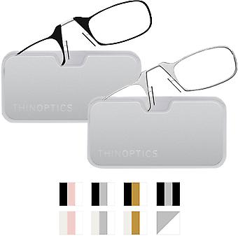 ThinOptics Secure Fit Armless Ultralight Reading Glasses with Metal Finish Pod