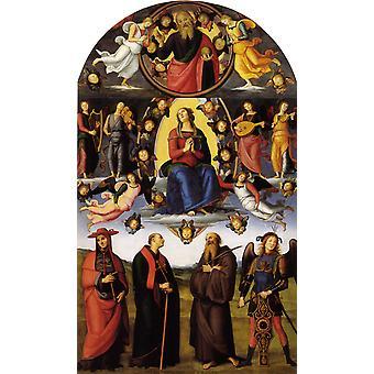 L'Assomption de la Vierge avec les Saints, Pietro Perugino, 40x60cm avec plateau