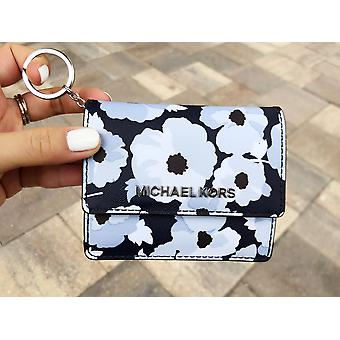 Michael kors jet set card holder key ring chain id navy floral
