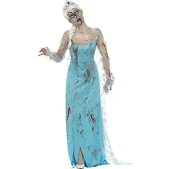 Froze to Death Zombie Costume, Blue, with Dress, Attached Latex Ribs & Tiara