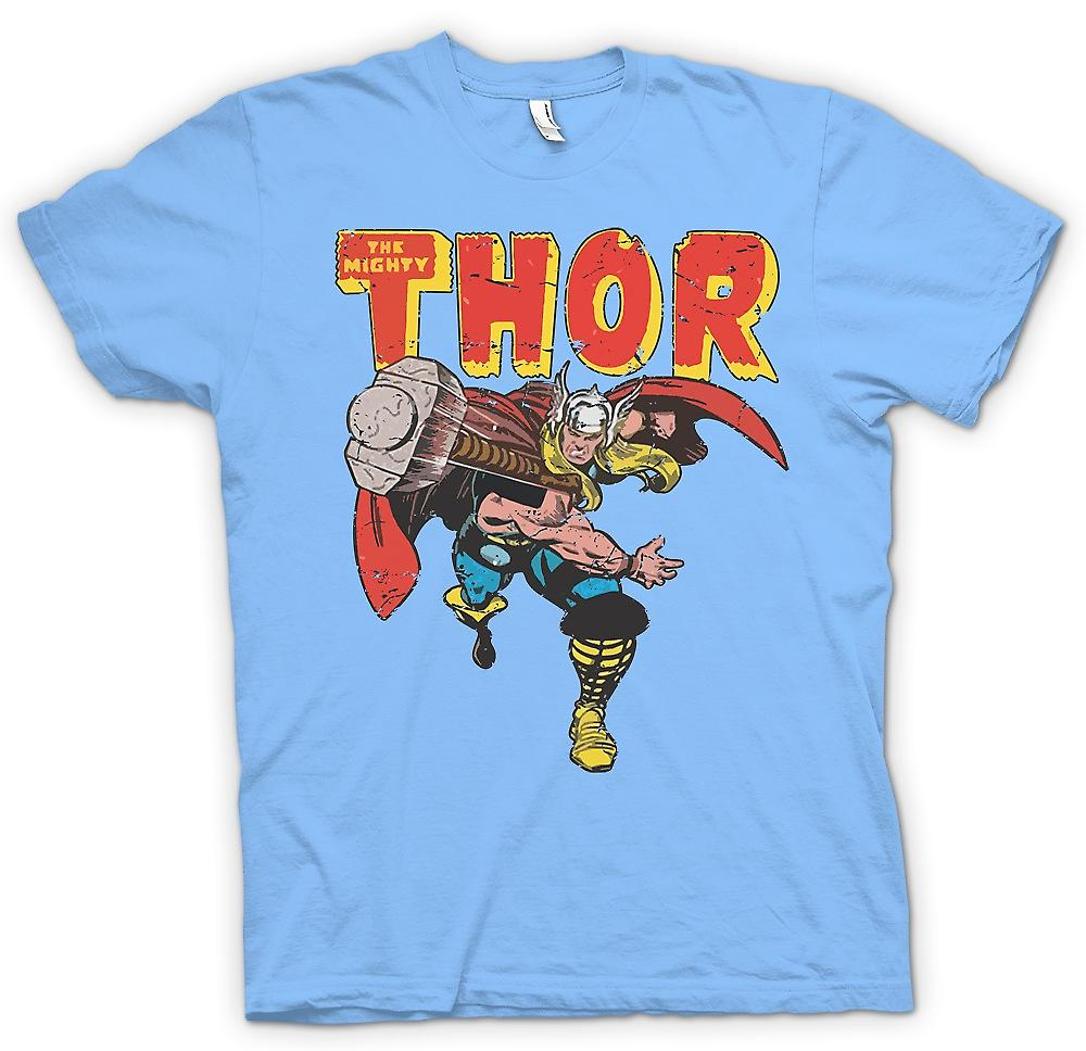Mens t-shirt - il possente Thor lancio martello - supereroe