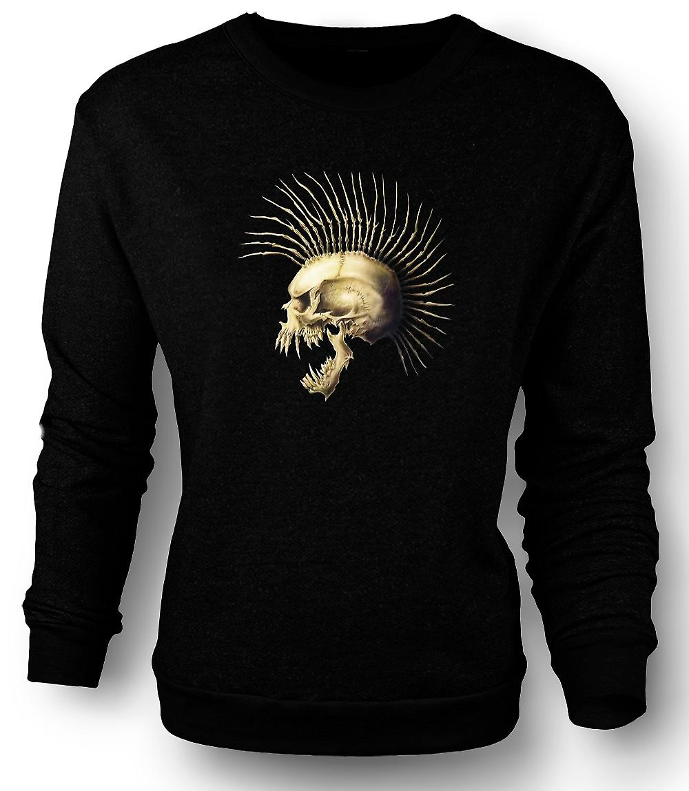 Mens Sweatshirt Punk Skull With Spines