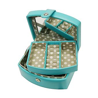 Mele Isla Blue PU Travel/Jewellery Case With Mirror & Lift Out Tray