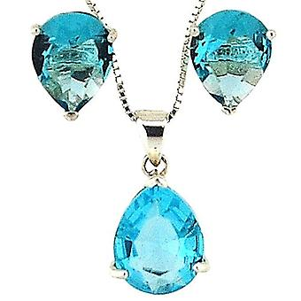 TOC Sterling Silver Blue CZ Tear Drop Pendant Necklace 18