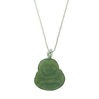 TOC Natural Jadeite Sterling Silver Buddha Pendant Necklace 18