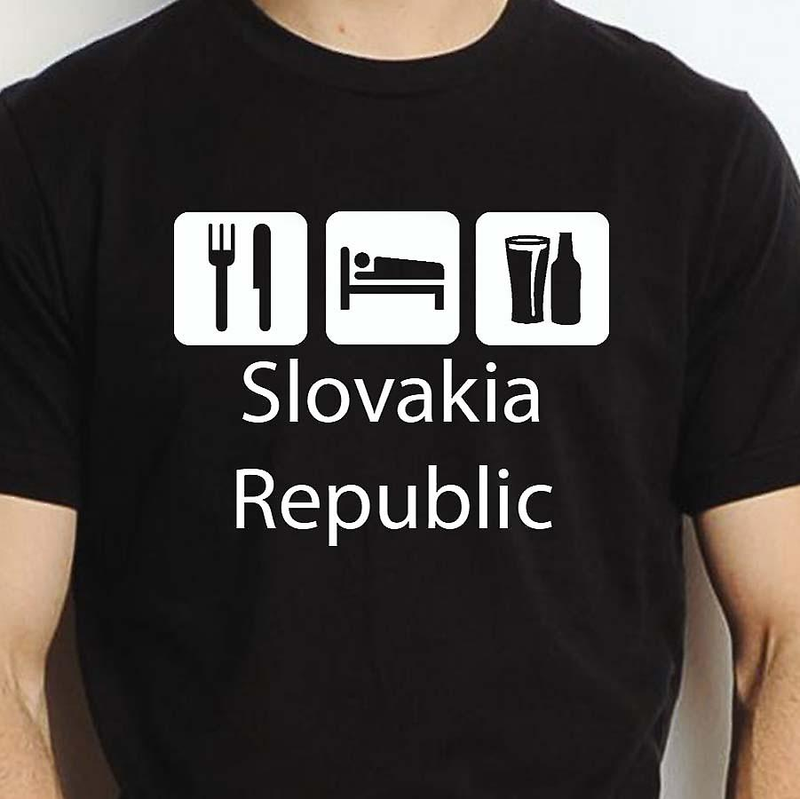 Eat Sleep Drink Slovakiarepublic Black Hand Printed T shirt Slovakiarepublic Town