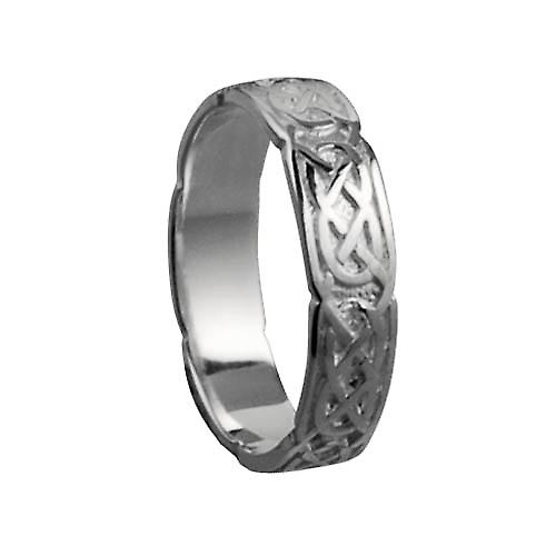 9ct White Gold 4mm Celtic Wedding Ring Size Q